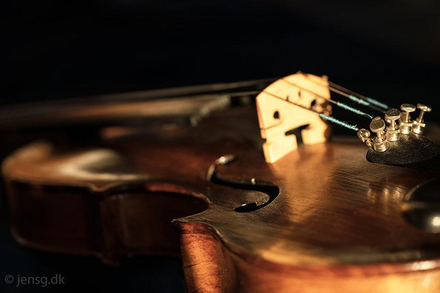 Nærbillede af en violin