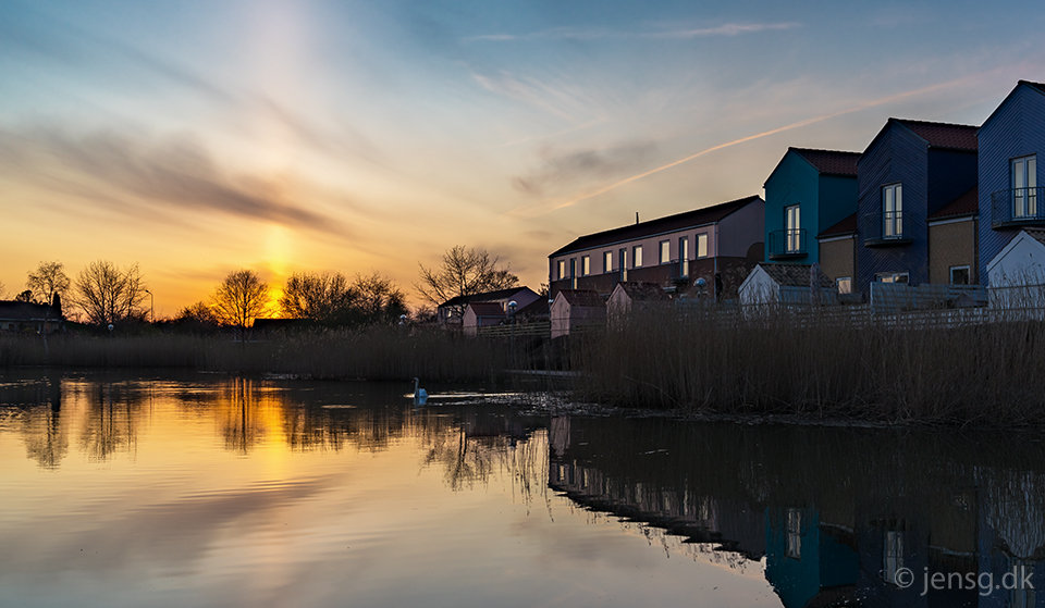 Solnedgang ved Tårnsøen i Egebjerg, Ballerup